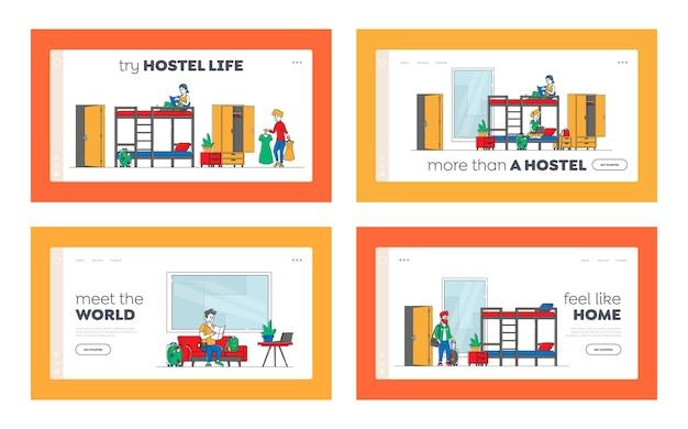 Hébergement en auberge de jeunesse, ensemble de modèles de page de destination pour le service d'accueil