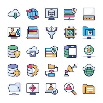 Hébergement réseau plat icons set
