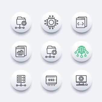 Hébergement, réseaux, ftp, serveurs, ensemble d'icônes de stockage de données