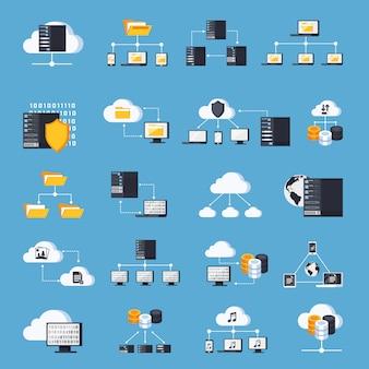 Hébergement services icons set