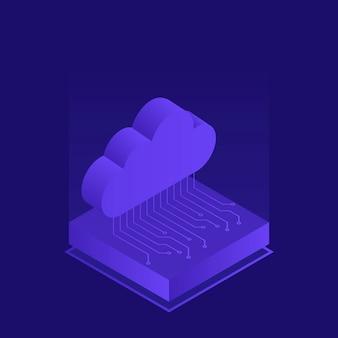 Hébergement avec stockage de données cloud. stockage de fichiers dans le cloud. illustration moderne dans un style isométrique