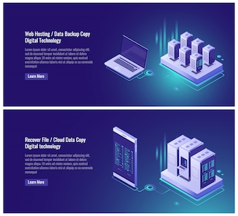 Hébergement Web, copie de sauvegarde de données, concept de fichier de récupération, stockage de données en nuage