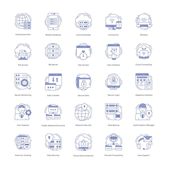 Hébergement web icons set