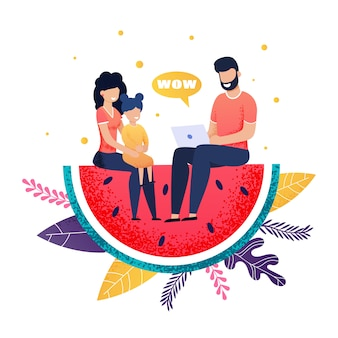 Héhé, assis sur une caricature de métaphore tranche de pastèque