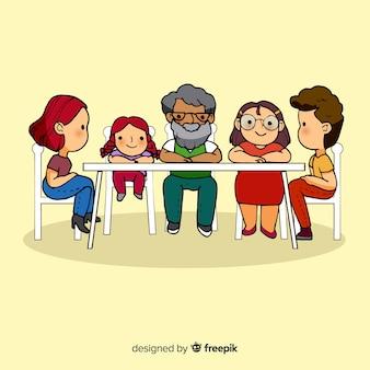Héhé, assis à la table, conception des personnages