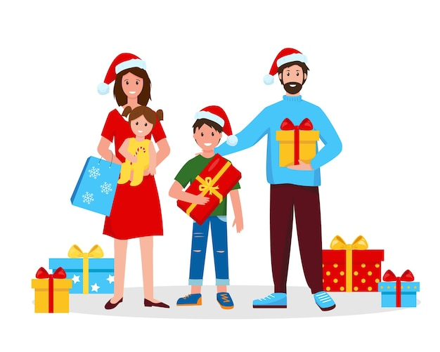 Héhé avec des cadeaux de noël. mère, père et enfants avec des cadeaux pour le nouvel an ou noël.