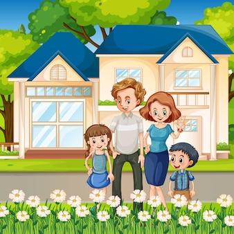 Héhé, debout devant la maison