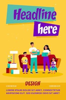 Héhé, déménageant dans une nouvelle illustration vectorielle plane maison ou appartement. dessin animé jeune mère, père et enfants tenant des boîtes avec des trucs