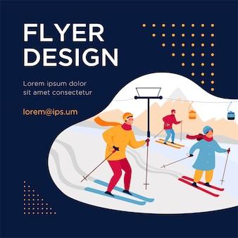 Héhé, ski en montagne. les gens qui passent des vacances d'hiver à la station de ski avec ascenseur et chalets. modèle de flyer