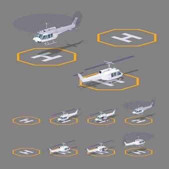 Heli pad 3d lowpoly isométrique