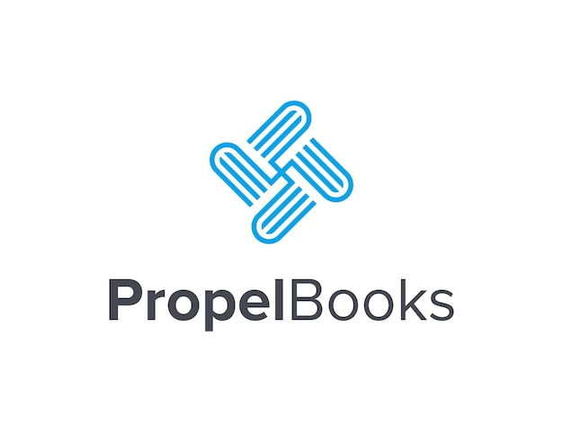 Hélice avec des livres décrivent une conception de logo moderne géométrique créative simple et élégante