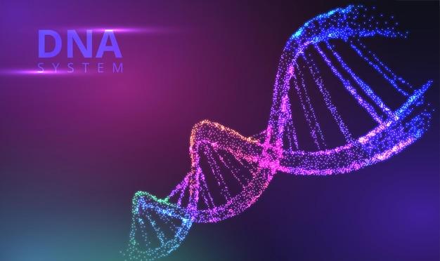 Hélice lumineuse abstraite de néon de molécule d'adn