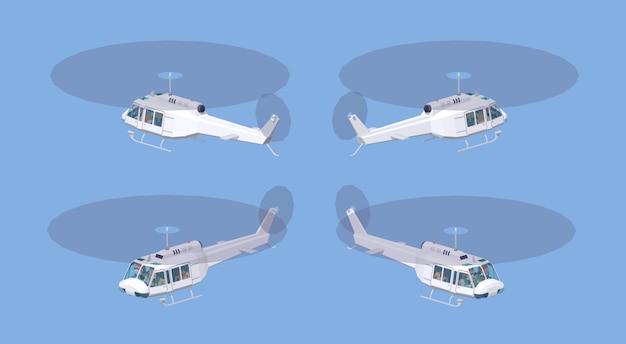 Hélicoptère blanc low poly