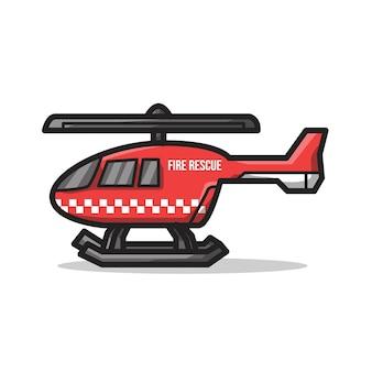 Hélicoptère du service d'incendie dans une illustration d'art en ligne minimaliste unique