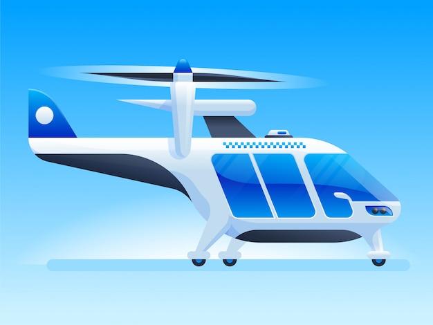 Hélicoptère futuriste dans un style plat