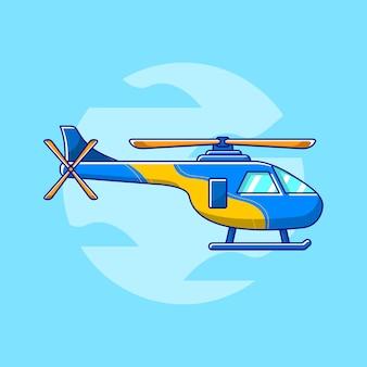 Hélicoptère en illustration design plat