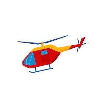 Hélicoptère. service de secours. illustration de dessin animé de vecteur.