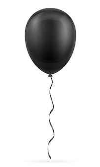 Hélium pompé par ballon noir de célébration avec ruban sur blanc