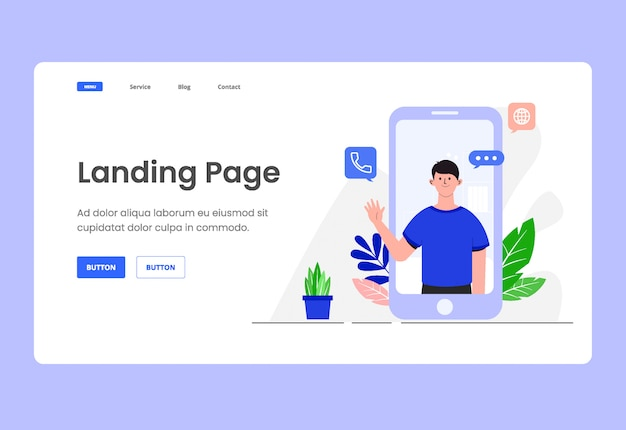 Hello illustration landing page header