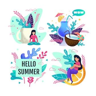 Hello summer advertisement set avec des personnes au repos