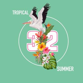 Hello summer design avec des plantes tropicales et des oiseaux