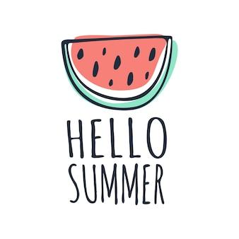 Hello summer lettrage de la pastèque doodle phrase