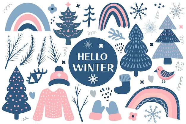 Hello winter boho set elements bohème hiver saison collection clip art main dessin style christm