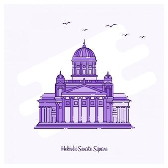 Helsinki senate square landmark illustration vectorielle de ligne pointillée violette skyline