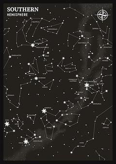 Hémisphère sud. carte des constellations en étoile.