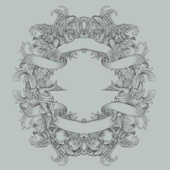 Héraldique vintage avec ornement floral