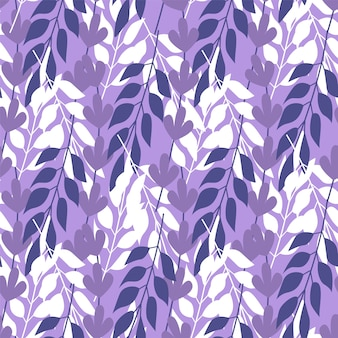 Herbe abstraite laisse modèle sans couture sur fond violet
