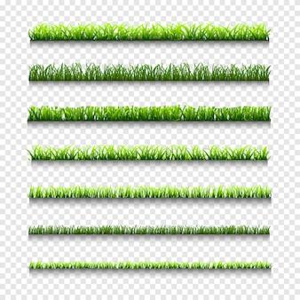 Herbe, différents types de bordures d'herbe verte