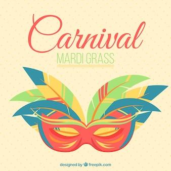 Herbe mardi masque de carnaval fond