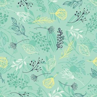 Herbes de la forêt, fond bleu