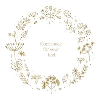 Herbes dessinées à la main doodle clipart, ensemble d'éléments