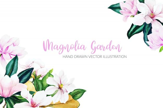 Herbes et fleurs aquarelles, couleurs vives, cadre d'angle