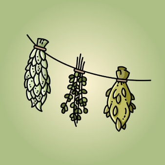 Herbes séchées sur une image de style plat de fil sur fond vert