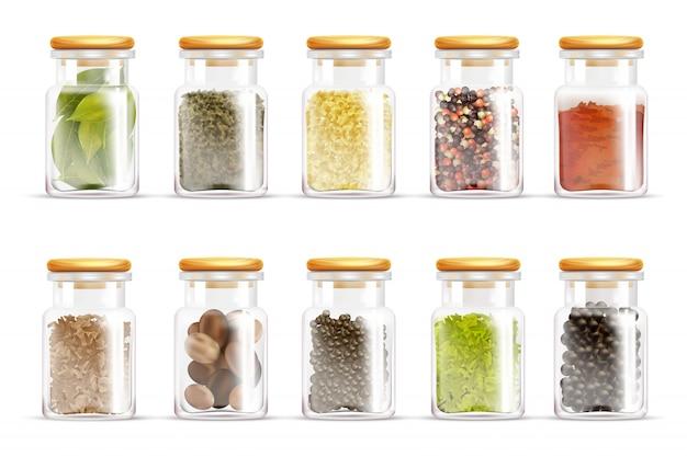 Herbes spices jars icon set