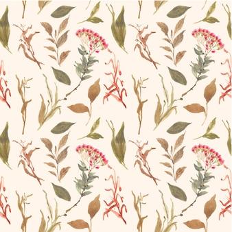 Herbier floral aquarelle seamless pattern