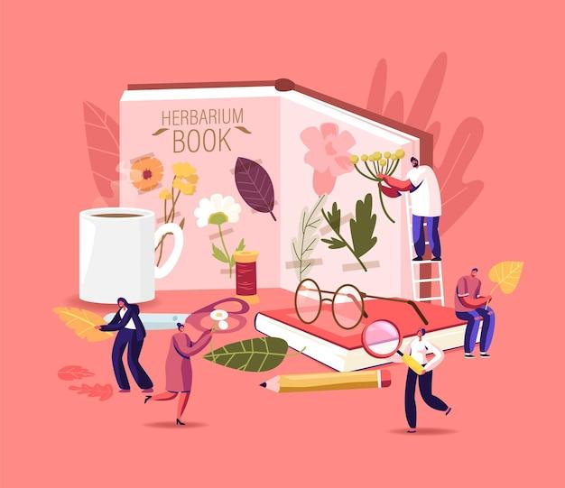 Herbier hobby concept. de minuscules personnages ramassant des herbes séchées, de l'herbe et des brindilles, des plantes naturelles des champs, les gens mettent des éléments naturels décoratifs floraux dans un énorme album ou un livre. illustration vectorielle de dessin animé