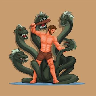 Hercule vs hydra figure personnage mythologie grecque classique histoire scène illustration vecteur