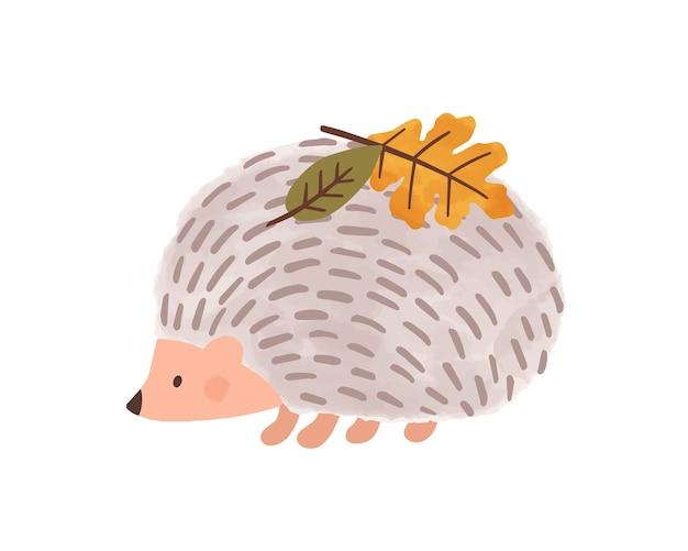 Hérisson de dessin animé mignon avec des feuilles sur les aiguilles vector illustration plate