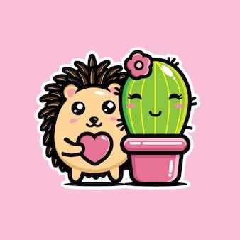 Hérisson et joli cactus tombent amoureux l'un de l'autre