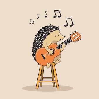 Hérisson, jouer, guitare, dessin animé, porc-épic, musique