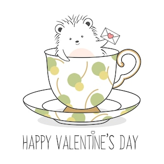 Hérisson mignon dans une tasse tenant une lettre d'amour