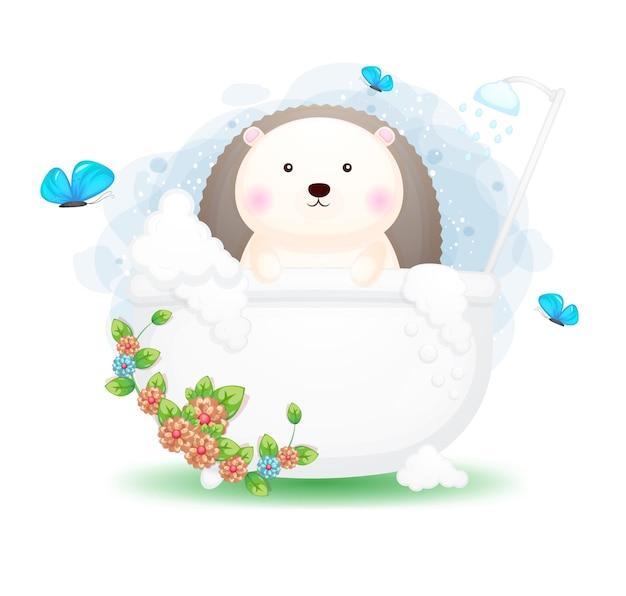 Hérisson mignon doodle dans la caricature de la baignoire