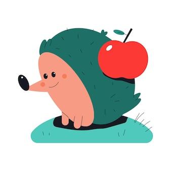 Hérisson mignon avec illustration de dessin animé de vecteur pomme rouge isolé sur fond blanc.