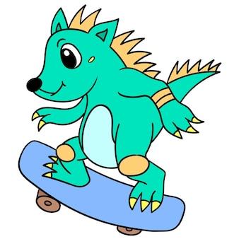 Un hérisson mignon patinant sur un style cool, illustration art. doodle icône image kawaii.