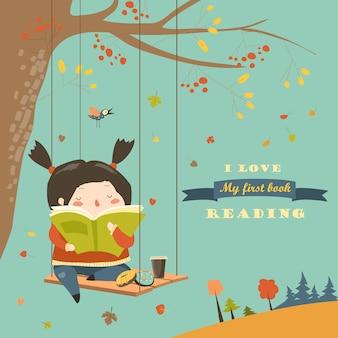 Hérisson et petit écureuil lisant des livres sur un banc