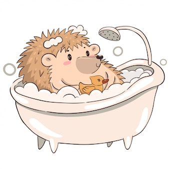 Hérisson prend un bain isoler sur un fond blanc. hérisson kawaii mignon.
